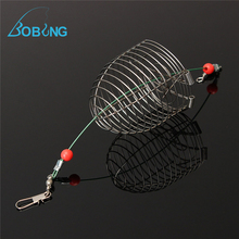 Bobing Small Bait Cage Fishing Trap Basket Feeder Holder Stainless Steel Wire Fishing Lure Cage Fishing Tackle Accessory tool