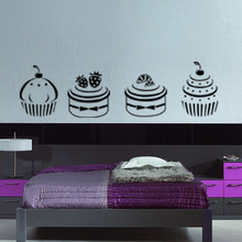 Kitchen room Wall paper icon store window sticker Sweets cakes drink store door service sign(China)