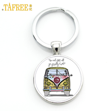 TAFREE exquisite handmade glass gem Hippie Peace Sign Van Bus mens keychain high quality pendant car ke ychain ring holder CT106(China)