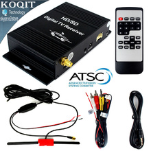 Car Digital Terrestrial ATSC Receiver TV Tuner 4 Video Out Free HD/SD Channel On Car With Active Amplifier UHF VHF Antenna(China)
