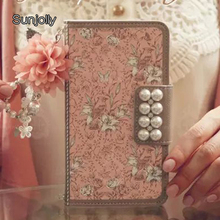 Chain Pearl Pink Leather Case Stand Flip Card Slot Wallet Phone Cover Coque Fundas Capa for Samsung Galaxy S6 Edge Plus
