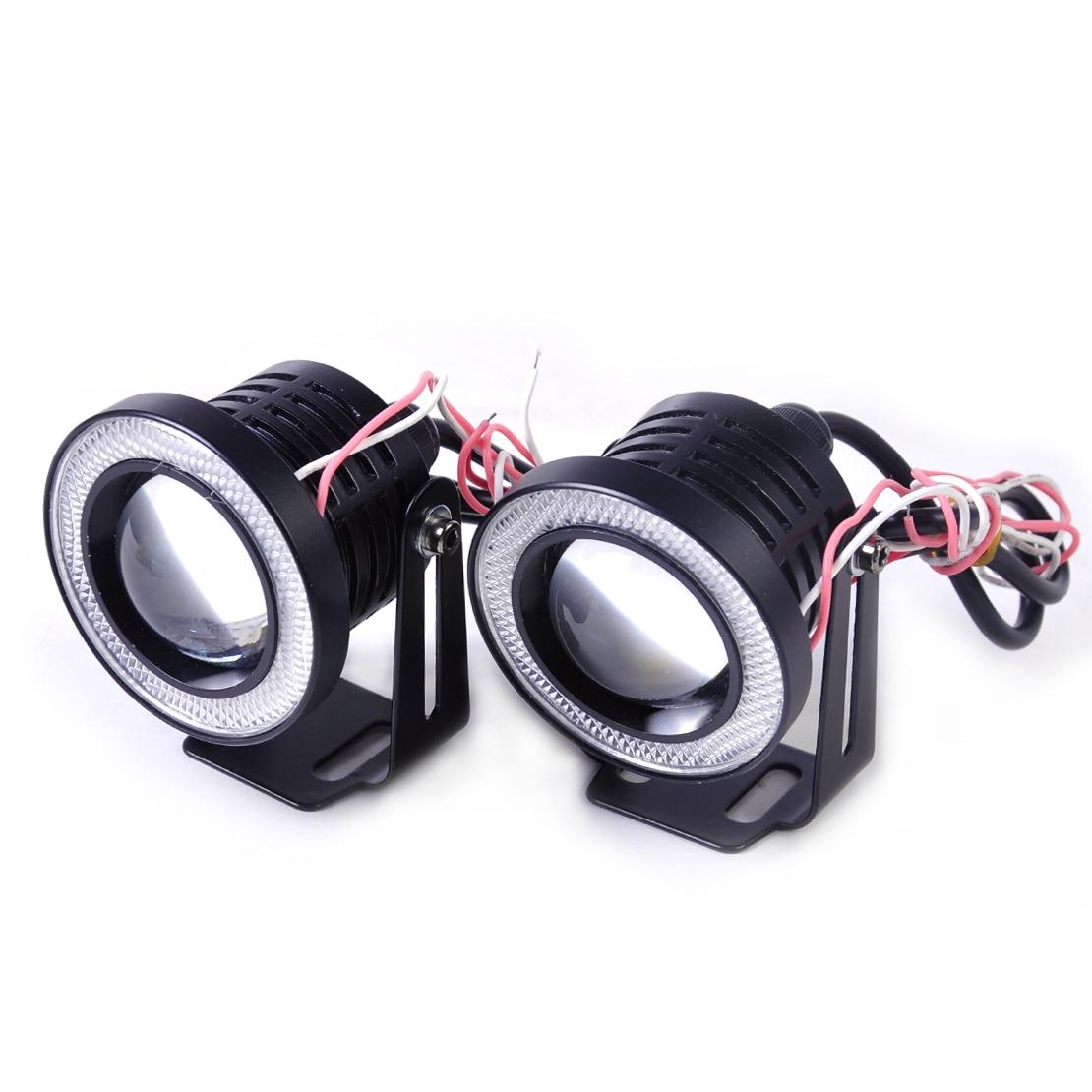 beler Universal 2.5 64mm 10W White LED Projector Fog Lens DRL Driving Light w/ Blue LED Angel Eye Halo Ring For Ford VW Audi VW<br>