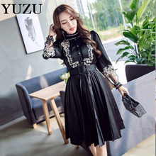 Vintage Dress Autumn Women Lace Floral Embroidery With Belt Black Party Pleated Dress Palace Aristocratic Long Sleeve Mesh Dress(China)
