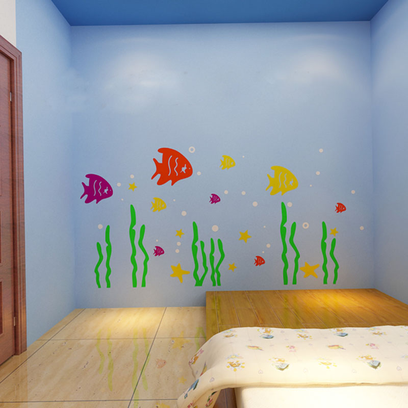 Cute Cartoon Sea World Fish Design Acrylic Wall Stickers For Kids Baby Room Decorations Create A Sweet In Hair Clips Pins From Beauty Health On