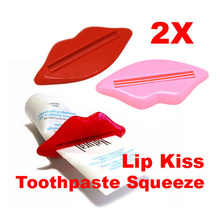 2Pcs Bathroom Products Lip Kiss Dispenser Toothpaste Squeeze Lips for Extruding Toothpaste Clip
