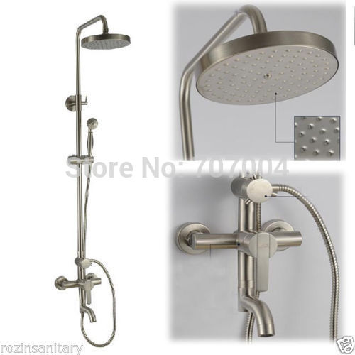 New Brushed Nickel Rain Shower Bath Faucet Set + Handheld Shower + 8 ShowerHead<br><br>Aliexpress