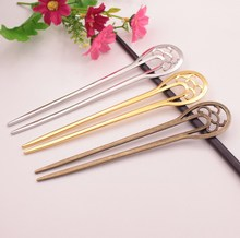 Double Fork Bob Bookmark Gold Hair Jewerly DIY Hollow Out Hear Accessories Antique Bronze Plated Vintage Hair Sticks kanzashi