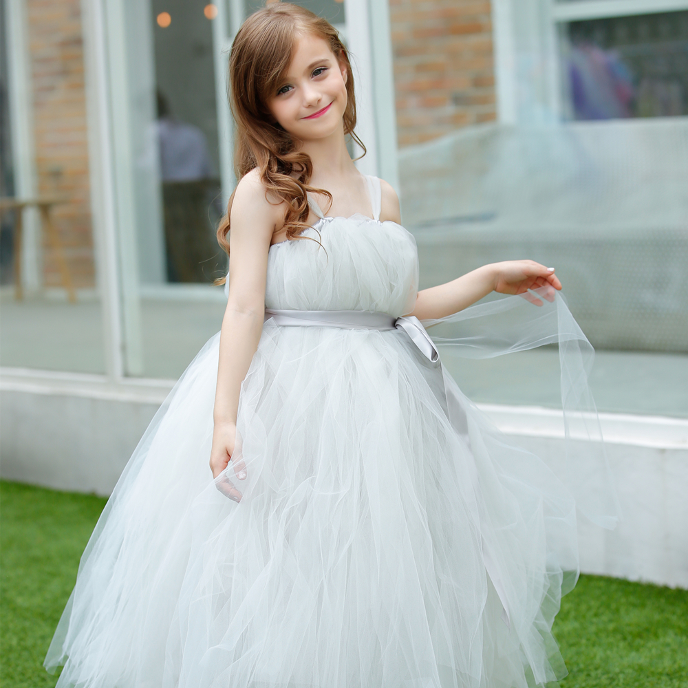 New Charm light Sliver Grey Flower Girl Dress with Satin Ribbon Girl Party Evening Flower Girl Tutu Dress For Wedding<br>