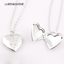2017 Valentines Gift Rhodium Silver Heart Locket Necklace Jewelry New Romantic Fancy Heart Pendant For Women FEAL N186