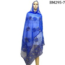 African women scarfs,Muslim women plain embroidery net big scarf ,2017 New Royal blue scarf for pashmina/shawls/wraps
