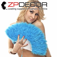 ZPDECOR Elegant Blue 2 pcs/bag Marabou Feather Hand Fan Costume Fun Act Burlesque Decor Dancing