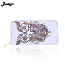 Vintage Zipper PU Leather Bags Famous Brand Designer Owl Wallet Long Leather Wallets For Women Ladies Bolsas Animal Print Wallet