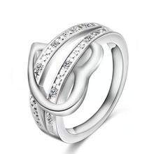 Stylish Silver Plated Love is forever Wedding Ring Rhinestone Luxury Jewelry