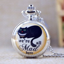 Fashion Silver we're all Mad here Lovely Black Cat Mirror Case Quartz Pocket Watch Analog Pendant Necklace Mens Womens Gifts