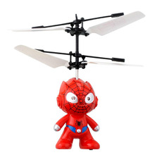 2017 Hot Sale Small SpiderMan RC Helicopter Aircraft Flying Induction Helicopter Kid Toys For Children Gift
