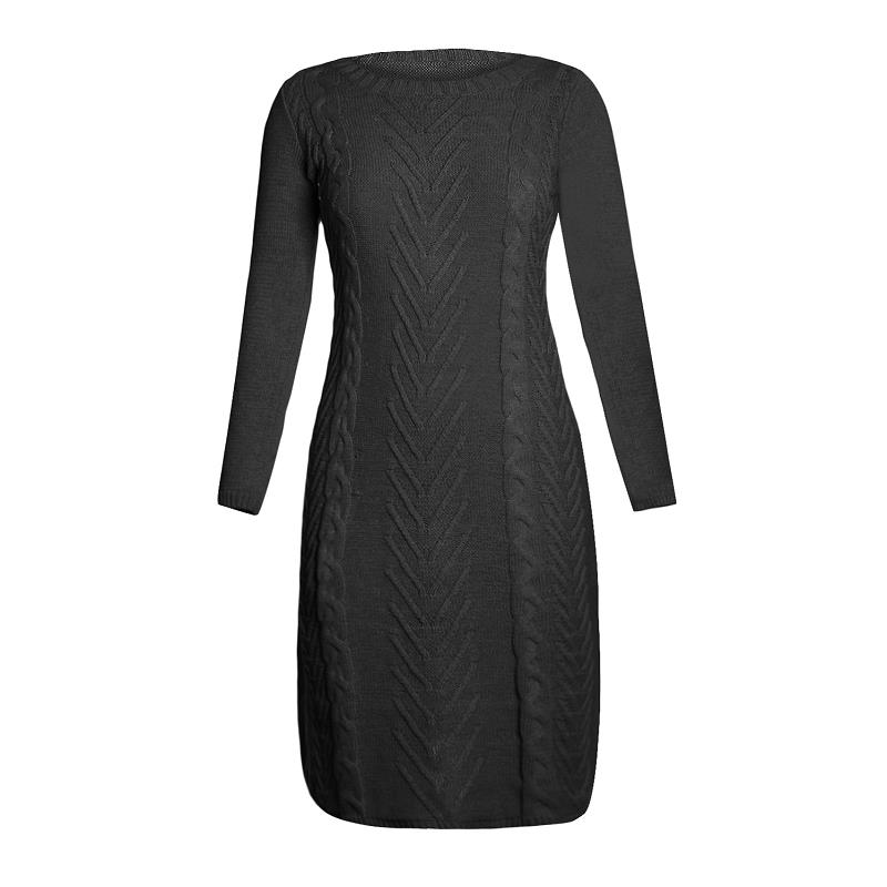 ADEWEL 2018 Spring Women Long Sleeve Bodycon Sweater Dress Casual Hand Knitted Midi Dress Elegant Inner Wear Womens Dresses (10)