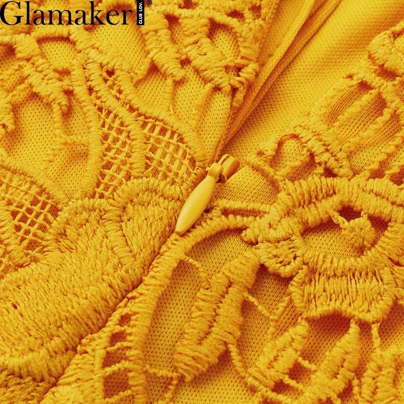 Glamaker Hollow out sexy yellow long dress Women lace ruffle button sundress Bodycon summer party dress night vestidos de festa 8