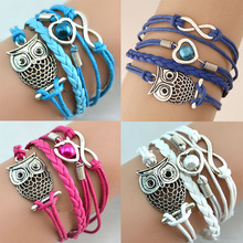 LNRRABC Hot 1 Pc Women Lady Fashion Infinity Friendship Multilayer Charm Leather Bracelets Jewelry Gift