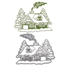 1pc Top sale Metal Steel Santa Claus Cutting Dies Stencil DIY Scrapbooking Album of Santa Claus Chimney House Decorate with Pine