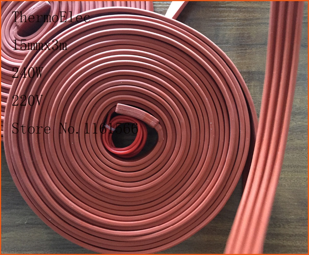 15mmx3m 240W 220V High quality flexible Silicone Heating belt heat tracing belt Silicone Rubber Pipe Heater waterproof electric<br>