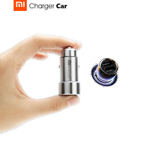 Original Xiaomi Car Charger Full Metal Dual USB Smart Port Quick Charge 5V 2.4A*2 MAX 3.6A