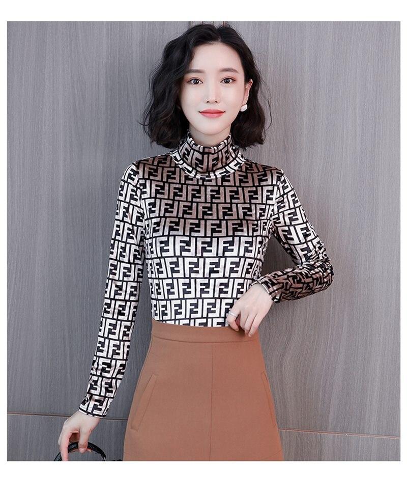 5d16217cc7d Fashion Women Turtleneck casual Velvet Tops Long Sleeve Letter pattern  spring Autumn Velour T-Shirts Basic Shirt