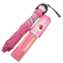 Novelty Japanese Kimono Doll Style Anti-UV Rainproof Folding Bottle Umbrella (Pink)(China)