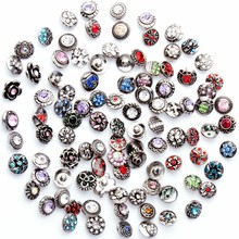 Wholesale 50pcs/Lot Mix Round Rhinestone For Jewelry Making DIY Bracelets 12mm Small Button Snap Jewelry Interchangeable Ginger