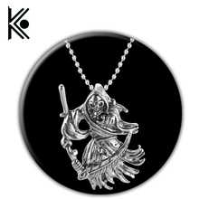 Gothic Jewelry Retro Punk Skeleton Charm Pendant The Death Grim Reaper Necklace For Men skeleton jewelry(China)