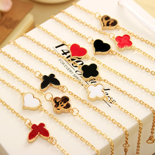 L077 Hot New 2017 Cheap Bijoux Luck 8 Infinity Clover Heart Bracelet For Women Jewelry Cross Pulseras Wholesale Bangles Bijoux