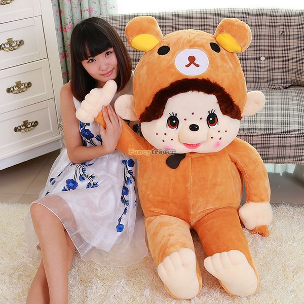 Fancytrader 120cm Cute JUMBO Stuffed Monchhichi Plush Toy Soft Kawai Doll Large Size Best Gift for Kids<br><br>Aliexpress