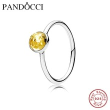 Original Silver Rings 100% 925 sterling-silver-jewelry, November Droplet, Citrine, Women Fine Jewelry PD601R