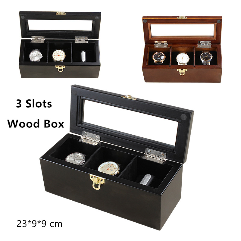 Han 3 Slots Wood Watch Box Fashion Top Quanlity Watch Storage Case With Lock New Wooden Display Jewelry Gift Boxes C018<br>