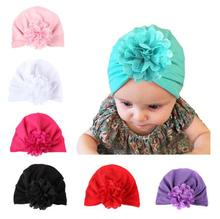 2016 New newborn photography props Bohemia Style Hollow Flower Baby Knot Hat Cute Crochet Baby Beanie India Cap(China)