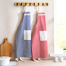 Women's Linen Stripe Apron Kitchen Baking Ware Bib Apron With Big PocketCook Household Cleaning Tools Kitchen Aprons 2017 #10(China)