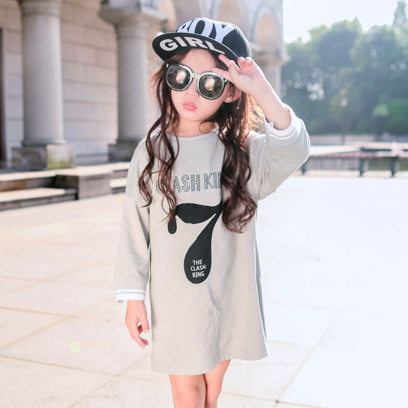 teenagers girl dress kids long sleeved party 2017 new spring autumn children clothing girls letter o-neck dress 10 11 12 years<br><br>Aliexpress