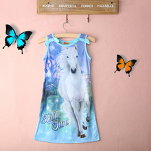 2017 Fashion Summer Children Kids Girls Belle Horse Magic Pattern Sleeveless Long Casual Dress Sundress 4-12Y(China)