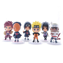 6pcs/lot 7cm Anime Naruto Figure Toy Sasuke Kakashi Sakura Gaara Itachi Obito Madara Killer Bee Mini Model Doll