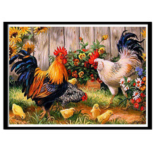 5D diy round Diamond Painting Cross Stitch animal 3d diamond embroidery kits diamond mosaic Home decor stickers Big cock pictur