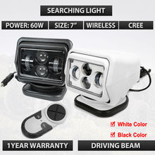 "10-30V 7"" 60W Led Remote control Searchlight 7inch Spot LED Work searching Light for TRUCK SUV BOAT MARINE Remote control light"