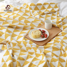 Parkshin Geometric Double Deck Blanket 100% Cotton Multi-Color Knitted Plaid Bedspread For Sofa/Bed/Home 3 size Blanket