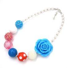 Adorable 43mm Rose Flower Toddler Chunky Beads Necklace Beautiful Gift To Baby Girls Bubble Gum Necklace Kids Photo Prop Jewelry(China)