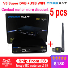 [Genuine] 5pcs Freesat V8 Super & USB Wifi DVB-S2 Satellite TV Receiver Support PowerVu Biss Key clines Newcamd Youtube Youporn(China)