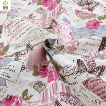 Special offer Retro Butterfly Rose Linen fabrics Tablecloths cloth cushion pillow linen fabric 145*50cm A1-1-M1(Hong Kong)