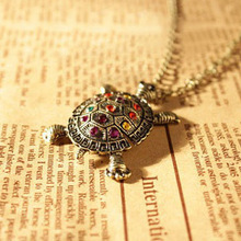 2016 New Fashion Turtle Pendant Necklace Wholesale Vintage Cute Sweater Tortoise Necklaces Jewelry For Women