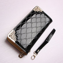 Spring Couture multifunctional leather glossy Long Wallet lady zipper bag hand bag mail