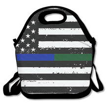 3D Print Thin Blue Green Line flag Military Lunch Bags Insulated Waterproof Food Girl Packages Womens Kids Babys Boys Handbags(China)