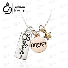 "3 Colors Silver, Rose Gold, Yellow Gold Plated  ""Believe, Dream"" Inspirational Rectangle Round Star Bar Pendant Necklace #LN992"