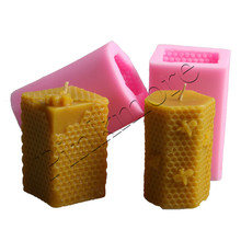 Square and Hexagon honeycomb shaped 3D Candle mold silicone mold form for soap Clay mold Salt carving mould(China)