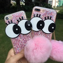 New Winter Big Eyes Fur Ball Pendant Glitter TPU Phone Cases for iPhone 6/6S plus 7 7plus Phone shell